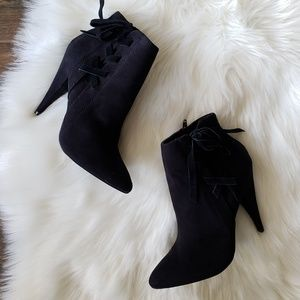 5aef40a5004a Express Shoes - B2G1 Express Black Ankle Lace Up Suede Booties